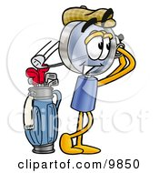 Clipart Picture Of A Magnifying Glass Mascot Cartoon Character Swinging His Golf Club While Golfing