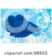 Royalty Free RF Clipart Illustration Of A Blue Siamese Fighting Fish by mayawizard101