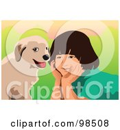 Royalty Free RF Clipart Illustration Of A Puppy Dog Sitting By A Little Boy by mayawizard101