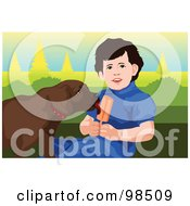 Royalty Free RF Clipart Illustration Of A Dog Licking A Little Boys Popsicle by mayawizard101