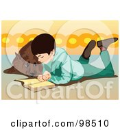 Royalty Free RF Clipart Illustration Of A Dog Looking At A Boy While He Reads by mayawizard101