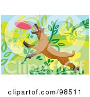 Royalty Free RF Clipart Illustration Of A Dog Fetching A Disc 3 by mayawizard101