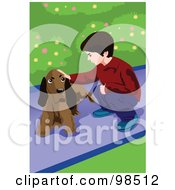 Royalty Free RF Clipart Illustration Of A Crouching Boy Petting A Dog by mayawizard101