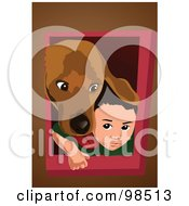 Royalty Free RF Clipart Illustration Of A Dog And Boy Peeking Their Heads Through A Dog Door by mayawizard101