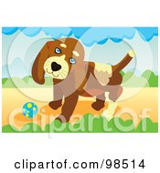 Royalty Free RF Clipart Illustration Of A Ball Fetching Dog 5 by mayawizard101