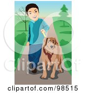 Royalty Free RF Clipart Illustration Of A Boy Training His Dog On A Leash by mayawizard101
