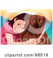 Royalty Free RF Clipart Illustration Of A Smiling Girl Hugging Her Dog