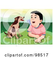 Royalty Free RF Clipart Illustration Of A Boy Laying On His Belly And Talking To His Dog by mayawizard101