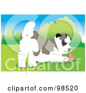 Royalty Free RF Clipart Illustration Of A Ball Fetching Dog 1 by mayawizard101