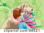 Royalty Free RF Clipart Illustration Of A Lonely Boy Hugging His Dog For Comfort by mayawizard101