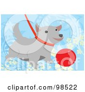 Royalty Free RF Clipart Illustration Of A Leashed Dog By A Red Ball by mayawizard101