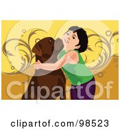 Royalty Free RF Clipart Illustration Of A Boy Hugging His Boxer Dog by mayawizard101