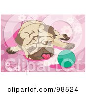 Royalty Free RF Clipart Illustration Of A Pug Resting By A Green Ball On A Pink Floral Background by mayawizard101
