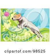 Royalty Free RF Clipart Illustration Of A Dog Fetching A Ball 3