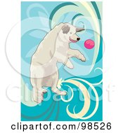 Royalty Free RF Clipart Illustration Of A Dog Fetching A Ball 2