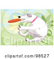 Royalty Free RF Clipart Illustration Of A Dog Fetching A Disc 2 by mayawizard101