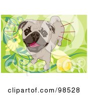 Royalty Free RF Clipart Illustration Of A Pug Standing By A Yellow Ball On A Green Floral Background by mayawizard101