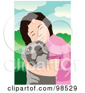 Royalty Free RF Clipart Illustration Of A Girl Closing Her Eyes And Hugging Her Dog by mayawizard101