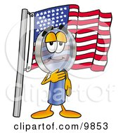 Clipart Picture Of A Magnifying Glass Mascot Cartoon Character Pledging Allegiance To An American Flag