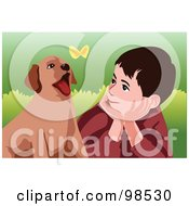 Royalty Free RF Clipart Illustration Of A Boy And Puppy Watching A Butterfly by mayawizard101