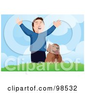 Royalty Free RF Clipart Illustration Of A Happy Boy Holding His Arms Out On A Hill While Standing By His Dog by mayawizard101