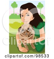 Royalty Free RF Clipart Illustration Of A Little Girl Hugging Her Pug Dog by mayawizard101