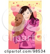 Royalty Free RF Clipart Illustration Of A Girl Carrying Her Dog On A Pink And Yellow Background