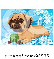 Royalty Free RF Clipart Illustration Of A Little Dog Sitting With A Green Ball Over A Blue Floral Background