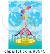 Royalty Free RF Clipart Illustration Of Two Loving Birds In A Cage