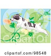 Royalty Free RF Clipart Illustration Of A Dog Fetching A Disc 4