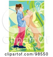 Royalty Free RF Clipart Illustration Of A Happy Dog Jumping On A Girl