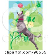 Royalty Free RF Clipart Illustration Of A Dog Fetching A Ball 1