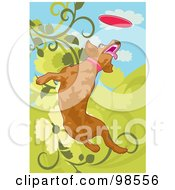 Royalty Free RF Clipart Illustration Of A Dog Fetching A Disc 1 by mayawizard101