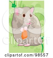 Royalty Free RF Clipart Illustration Of A Pet Hamster Holding Food by mayawizard101