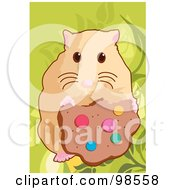 Royalty Free RF Clipart Illustration Of A Pet Hamster Eating A Cookie by mayawizard101
