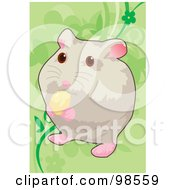 Royalty Free RF Clipart Illustration Of A Pet Hamster Nibbling On Food by mayawizard101