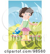 Royalty Free RF Clipart Illustration Of A Girl Carrying A Watering Can In A Tulip Garden
