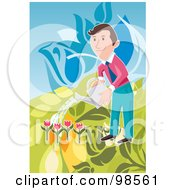 Royalty Free RF Clipart Illustration Of A Happy Businessman Watering His Tulip Garden by mayawizard101
