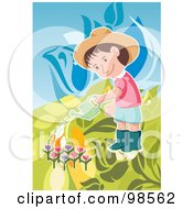Little Boy Watering Tulips In A Garden