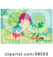 Royalty Free RF Clipart Illustration Of A Little Boy Planting A Seedling
