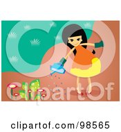Royalty Free RF Clipart Illustration Of A Little Girl Watering Flowers In Her Garden