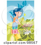 Girl Raking In A Tulip Garden