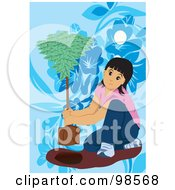Royalty Free RF Clipart Illustration Of A Little Girl Planting An Arbor Day Tree