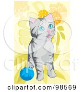 Royalty Free RF Clipart Illustration Of A Cat Playing With A Ball 3 by mayawizard101