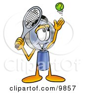 Clipart Picture Of A Magnifying Glass Mascot Cartoon Character Preparing To Hit A Tennis Ball