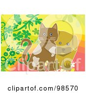 Royalty Free RF Clipart Illustration Of A Brown Puppy And Kitten On A Floral Background by mayawizard101