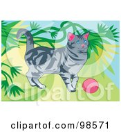 Royalty Free RF Clipart Illustration Of A Cat Playing With A Ball 1 by mayawizard101