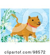 Royalty Free RF Clipart Illustration Of A Striped Cat In A Floral Tree by mayawizard101