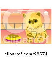 Royalty Free RF Clipart Illustration Of A Fluffy Kitten By A Food Dish