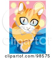 Royalty Free RF Clipart Illustration Of A Big Eyed Kitten On A Blue Blanket by mayawizard101